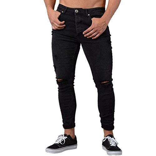 Lannister Fashion Pantalones Vaqueros Delgados Hombres del Motorista Skinny Pantalones Raídos Delgados Hombres Desgastados Pantalones Vaqueros del Tejido Pantalones del Algodón Hombres Desgarrados Negro