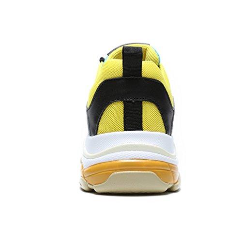 Adulte Femme Vert Fitness Homme Baskets Gymnastique de Légères Sport Athlétique Jaune Chaussures Respirant Mixte Jogging Flarut F76zqT411