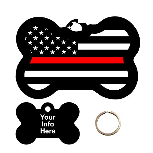 Customized Red Line Flag Pet Tag - Bone Shape Dog Tag