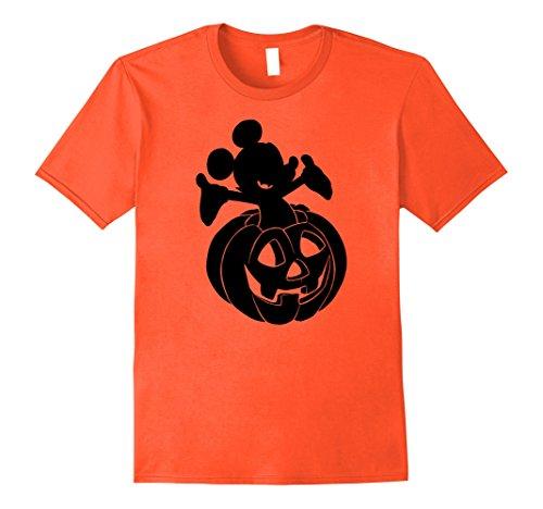 Disney Halloween Shirt (Mens Disney Mickey Mouse Halloween Pumpkin T-shirt Large Orange)