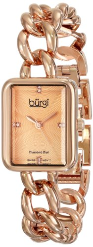 Burgi Women's BUR100RG Rose-Tone Stainless Steel Watch with Link Bracelet