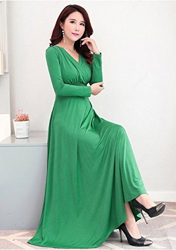 MiGMV?2018 Robes Robe Femme, Robe, Manches Courtes, Taille Haute, Jupe, Grand V Longue Jupe. Green long sleeves