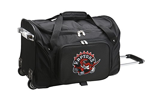 NBA Toronto Raptors Wheeled Duffle Bag, 22 x 12 x 5.5'', Black by Denco