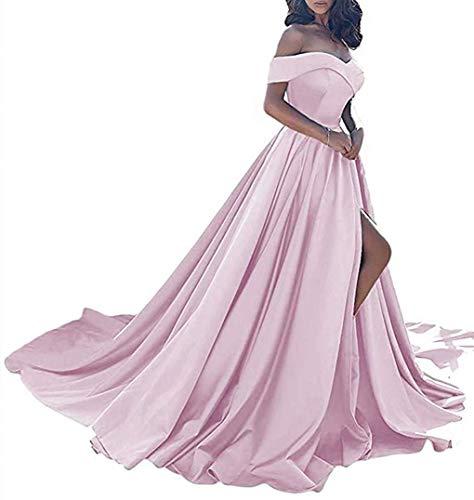 Homdor Split Off Shoulder Prom Evening Dress for Women A-Line Satin Formal Gown Pink Size ()