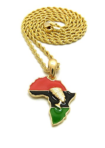 Fashion 21 Unisex Mini Size Nefertiti in Africa Map Pendant 18'',20'',24'' Box, Rope Chain Necklace in Gold Tone (Gold/2mm 18'' Rope Chain) by Fashion 21