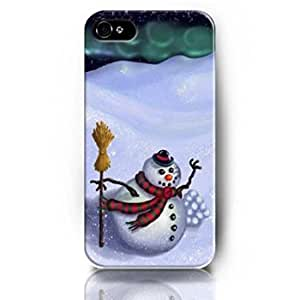 Hot 1391194M25510728 Popular Phone Cases Skins for Apple iPhone 4/4S with the Christmas Design of Snowman and Broom