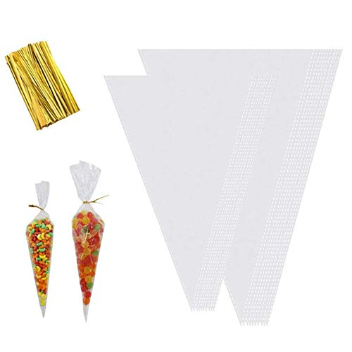 Clear Cone Bags, 200pcs Cellophane Triangle Shaped Treat Bags with Gold Twist Ties for Snacks Candy Cookies Popcorn DIY Favors(2 Size)