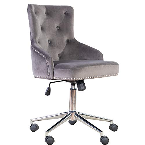 (Irene House Modern Mid-Back Tufted Velvet Fabric Computer Desk Chair Swivel Adjustable Accent Home Office Task Chair Executive Chair with Soft Seat(Grey, Office Chair))