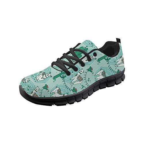 Bigcardesigns Road Running Walking Sneakers Boho Style Alpaca Printed Lightweight Sport Shoes Mesh Surface Trainers Size 10 B(M) Women-EUR 40