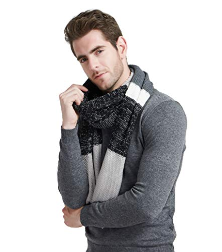 Winter Cashmere Scarf for Men - Color Block Stripe Wool Knitted Fashion Long Scarves (Mens Wool Knit Scarf)
