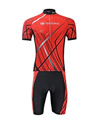 Shefetch Men's Short Sleeve Mid Rise Ribbed Hem Graphic Tracksuits Red 44