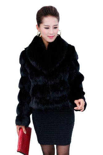 Queenshiny Women's Fox Fur Coat Jacket with Fox ()