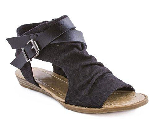 Royou Yiuoer Womens Wedge Sandal Canvas Crisscross Strap Side Zipper Peep Toe Summer Flat Shoes by Black Size US 12