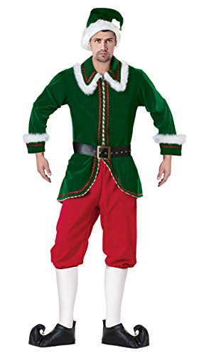 [Ecilu Men's Deluxe Elf Velvet Christmas Costume Green-Red Medium] (Green And Red Elf Costumes)