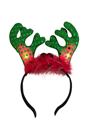 Mammoth Sales Light Up LED Christmas Reindeer Antlers Headband -