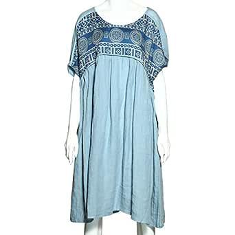 Buyitang Blue Cotton Casual Dress For Women