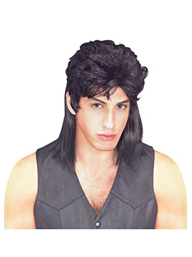 Rubie's Humor Black Mullet Shoulder Length Wig, Black, One Size]()