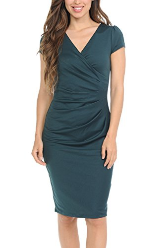 (Auliné Collection Womens V-Neck Zip Up Work Office Career Side Wrap Sheath Dress Green)