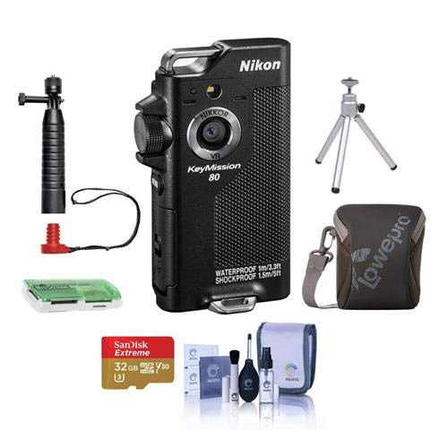 Nikon KeyMission 80 Action Camera, 12.3 MP CMOS Sensor - Bundle with 32GB Micro SDHC Card, Camera Case, Joby Action Grip, Table Top Tripod, Cleaning Kit, Card Reader