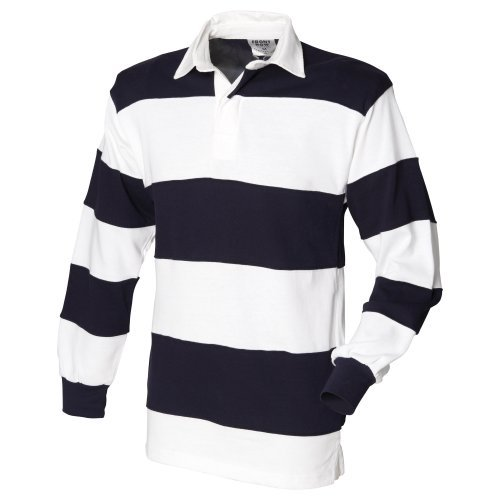 (Front Row Sewn Stripe Long Sleeve Sports Rugby Polo Shirt (L) (White & Navy (White)