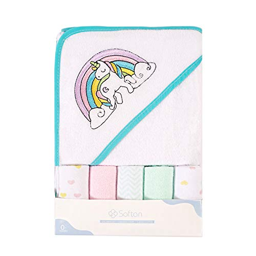 Softan Baby Hooded Bath Towel and Washcloths, Extra Soft and Ultra Absorbent, 6 Pack Gift for Newborn and Infants, Unicorn from softan