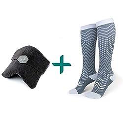 trtl Pillow & Trtl Socks Bundle - Scientifically Proven Super Soft Neck Support Travel Pillow & Trtl Compression Socks (Black Pillow & Seattle Socks Size Small)