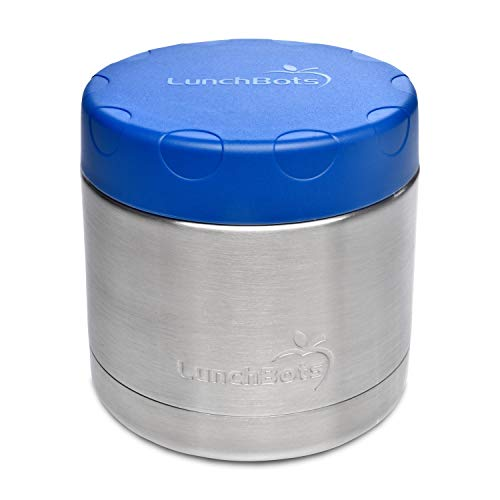 LunchBots Wide Thermal 16 oz. All Stainless Steel Bowl - Insulated Food Container Stays Hot 6 Hours or Cold for 12 Hours - Leak Proof Soup Jar for Portable Convenience - Blue by LunchBots (Image #1)