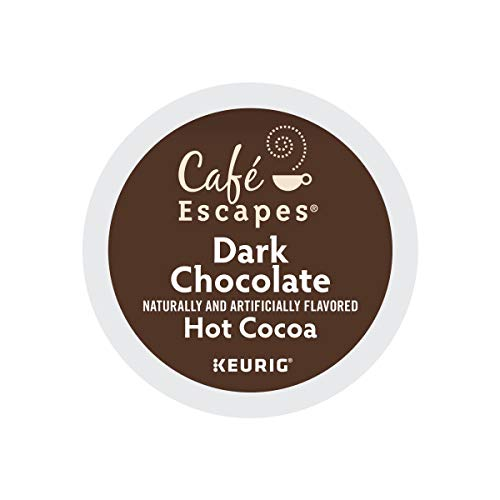 Cafe Escapes, Dark Chocolate Hot Cocoa, Single-Serve Keurig K-Cup Pods, 48 Count (2 Boxes of 24 Pods) by Café Escapes