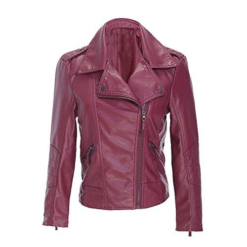 Imitación Cuero Anorak de Rojo la con Corta Cremallera Vino de Cremallera Cuero Mujeres de PU Abrigo Chaqueta las gqFw77