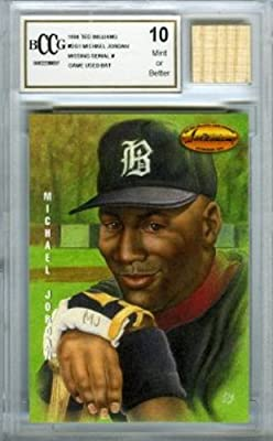 1994 Ted Williams #DG1 Michael Jordan Baseball Rookie with a Piece of Authentic Michael Jordan Game Used Bat Graded BGS BECKETT 10 MINT GGUM Card