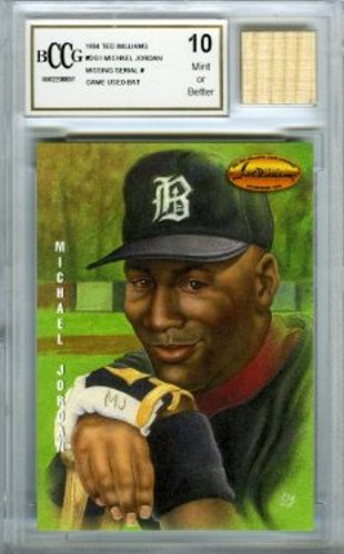 1994 Ted Williams #DG1 Michael Jordan Baseball Rookie with a Piece of Authentic Michael Jordan Game Used Bat Graded BGS BECKETT 10 MINT GGUM Card (Williams Rookie Card)