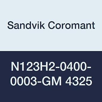 Neutral Cut 4325 Grade C,N Ti Carbide Sandvik Coromant CoroCut 1-2 Insert for Grooving +Al2O3+TiN Inveio Coating Technology N123H2-0400-0003-GM 4325