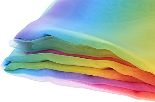 BBTO 16 Feet by 54 Inch Rainbow Organza Multicolored Voile Dress Fabric Fancy Costumes Decorations