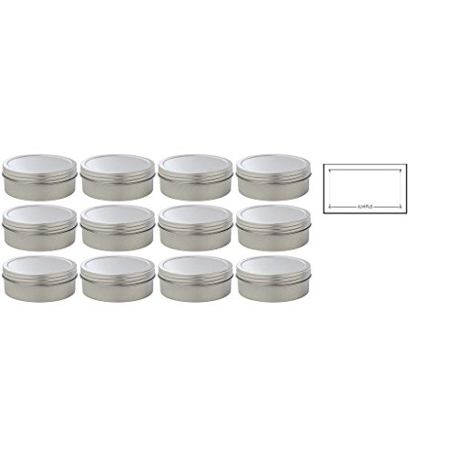 4 oz Metal Steel Tin Flat Container with Tight Sealed Twist Screwtop Cover (12 pack) + Labels