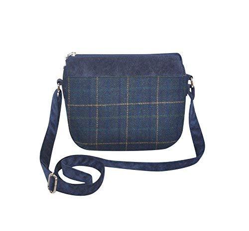 Tweed Wool Messenger Shoulder Bag Green Earth Squared 25x20x5cms