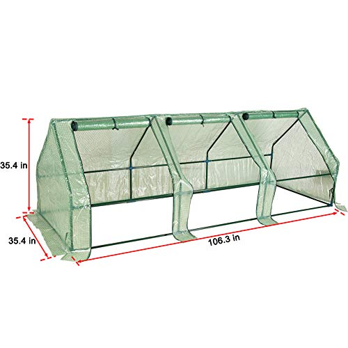 """Sundale Outdoor Portable Gardening Steeple Mini Green House with PE Cover and Zipper Doors, Waterproof Hot Green House, UV Protection, Insect Prevention, 106.3""""(L) x 35.4""""(W) x 35.4""""(H) by Sundale Outdoor (Image #6)"""