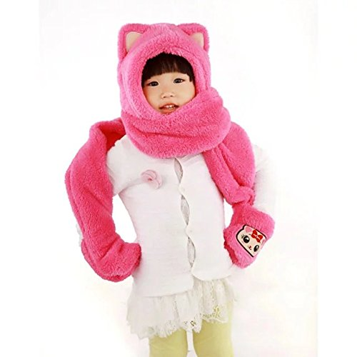 COFFLED Kids Hat , Gloves and Scarf 3 in 1 Cute Winter Acessory, Faux Cat Hoodie Hoods Hat Mitten Costume