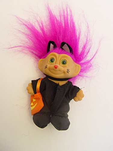 Russ Purple Haired Halloween Troll in a Black Cat Costume 3