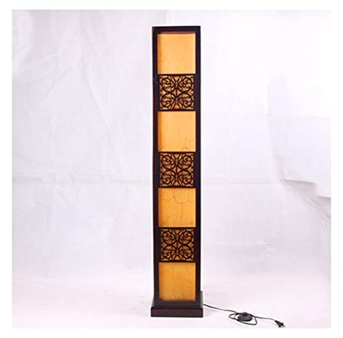 (KDJHP Floor Lamp Solid Wood Hollow Parchment Floor Lamp Antique Living Room Decoration -459Floor Lamps)