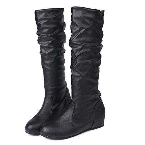 XILALU Women Winter Flat Solid Color Martin Long Pointed High Long Martin Boots Casual Shoes B0785K6NGP Shoes 1ea537