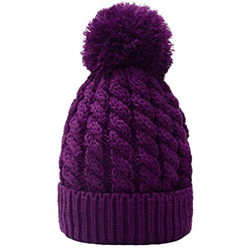 Women's Winter Beanie Warm Fleece Lining - Thick Slouchy Cable Knit Skull Hat Ski ()