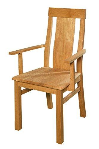Esszimmerstuhl Aus Eiche Massiv Mit Armlehne Geölt Extrem Robust Ergonomisch Geformt Holzstuhl Für Küche Esszimmer Rustikaler