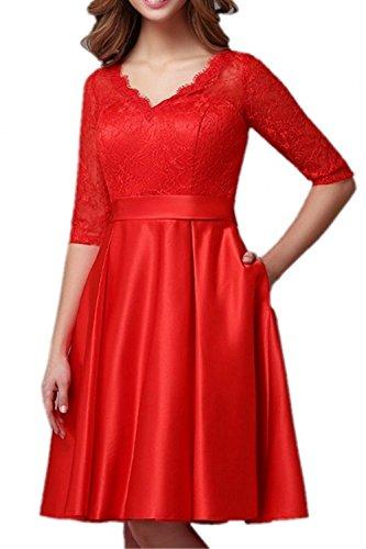 Ballkleider Rot mia Partykleider Ausschnitt Knielang Festlichkleider La Braut Abendkleider Formalkleider Langarm V Spitze Kurz 8pAOdq