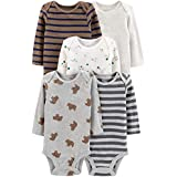 Simple Joys by Carter's Boys' 5-Pack Long-Sleeve Bodysuit, Bears/Animals Green/Stripes, 18 Months