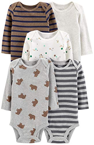 Simple Joys by Carter's Boys' 5-Pack Long-Sleeve Bodysuit, Bears/Animals Green/Stripes, 18 - 18 Onesies Month Sleeve Long