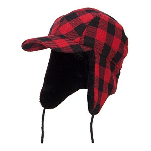 Big Size Buffalo Plaid Hunter Cap - Red 2XL-3XL (Buffalo Bills Hats Red)