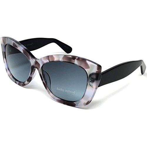 Kathy Ireland Womens Acetate Flecked Cat-eye Sunglasses with Ivory and Black Temple Frame and Gradient Smoke Lens Black Temple Frame