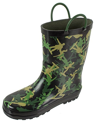 Rainbow Daze Kids Rain Boots, Army Soldiers,Waterproof with Easy-on Handles 100% Rubber,Camo Print,Little Kid Size 11/12