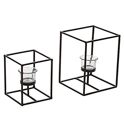 Hosley's Set of 2 Candleholders with Clear Votive Glass, Lantern Tealight Holders. Includes Free Tea Lights. Ideal GIFT for Home, Fireplace, Wedding , Spa, Reiki, Aromatherapy, Party LED Modern Art O9
