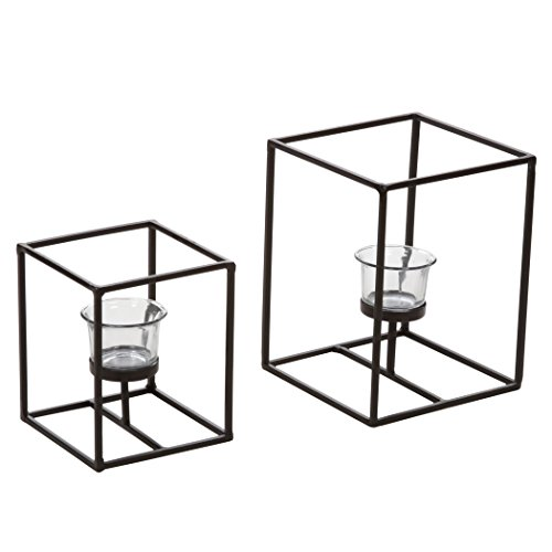 Hosley's Set of 2 Candleholders with Clear Votive Glass, Lantern Tealight Holders. Includes Free Tea Lights. Ideal GIFT for Home, Fireplace, Wedding , Spa, Reiki, Aromatherapy, Party LED Modern Art O9 (Diffrent Nuts)